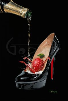 Title: Champagne Shoe Artist: Michael Godard Description: Limited Edition Giclée on Canvas. How can a girl have more fun that a sexy pair of shoes filled with champagne? This painting is about how feeling sexy makes you playful or perhaps the Godard Art, Champagne Shoes, Wine Art, Wine And Spirits, Martini, Glass Art, Cool Art, Art Gallery, Make It Yourself