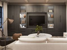 Choose a custom built-in entertainment center from California Closets and transform your living room. Learn more about our wall media centers and TV units. Built In Tv Wall Unit, Built In Tv Cabinet, Tv Built In, Built In Cabinets, Media Cabinets, Built In Media Center, Media Wall Unit, Living Tv, Living Room Wall Units