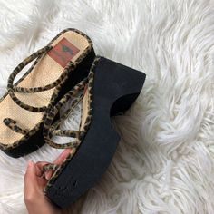 Vintage fuzzy cheetah print platform sandals 👡 JUST 😍 a - Depop Sneakers Shoes, Dr Shoes, Sock Shoes, Me Too Shoes, Shoes Heels, Pumps, Chunky Sneakers, Strappy Sandals, Stiletto Heels