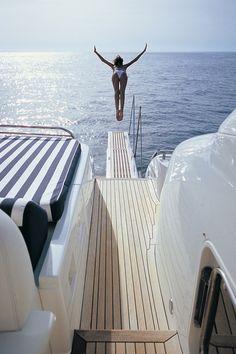 summer, travel, yacht, dip in the ocean Slim Aarons, Catamaran, Beach Bum, Ocean Beach, Beach Towel, Summer Of Love, Enjoy Summer, Style Summer, Summer Fun