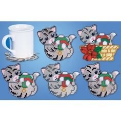 Mary Maxim – Cat Coasters and Holder Plastic Canvas Kit – Plastic Canvas Kits – Plastic Canvas – Crafts