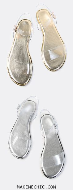 Double Clear Strap Metallic Sandals