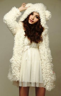 furry white bear coat