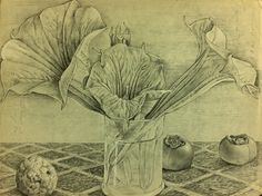 Datura and parsimons on a Persian carpet Pencil drawing by Luis Vargas Saavedra Private collection