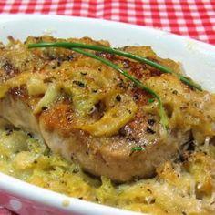 One Perfect Bite: Cotes de Porc A L'Auvergnate - Braised Pork with Cream and Cabbage#.VCYwzhbLKCI