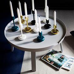 Nappula candleholders by Iittala. Around table by Muuto.