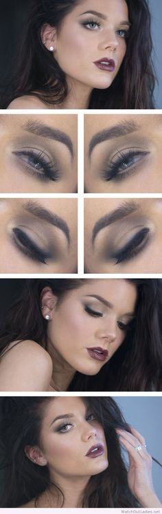Linda Hallberg simple eye makeup and dark lips