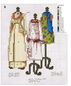 0 point de croix robes anciennes - cross stitch antique dresses