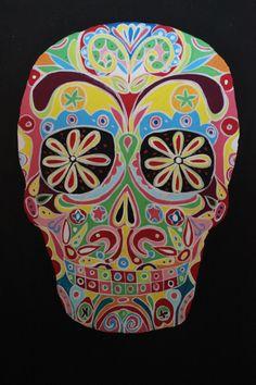 Calavera mexicana realizada en Basic y gouache. A4. Sally Williams. Mexican Skull made in basic and gouache. A4 Sally Williams.