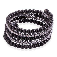 Black Glass Pearl, Glass Wrap Bracelet on Memory Wire TGW 0.002 cts.