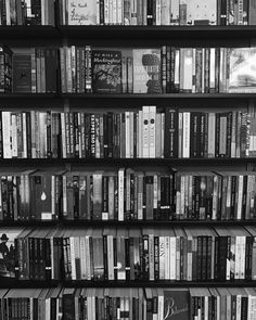 "bookbaristas: ""Wednesday's call for black and white bookshelf pics "" Black And White Books, Black And White Picture Wall, Black N White, Black And White Pictures, Gray Aesthetic, Black And White Aesthetic, Book Aesthetic, Aesthetic Pictures, Iphone Wallpaper Blur"