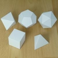 Platonic Solids. PDF's of each  shape to print and create polyhedrons.