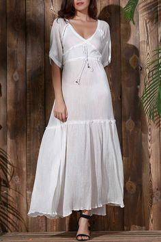 Open Back Tiered Flowing Dress