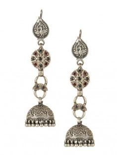 Oriental Silver Jhumkas Silver Jhumkas, Silver Jewellery, Metal Jewelry, India Shopping, Timeless Elegance, Ethnic Jewelry, Indian Wear, Black Metal, Necklace Set