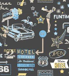 Papel pintado carteles luminosos de coches y hoteles de Las Vegas años 50 - 8138