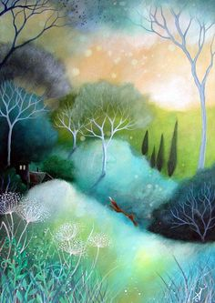This is so gentle yet so full of movement and color.    A fairytale  art print .'Homeward' by Amanda Clark. $28.00, via Etsy.