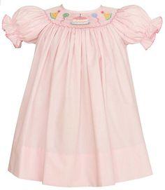 Pink Poplin Bishop Dress with Birthday Cake Smocking   Size 12-18 Months   Perfect First Birthday Dress   Petit Bebe