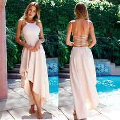 Newest Fashion Women Sleeveless Backless Boho Long Maxi Dress Evening Party  Beach Solid Long Dress d5c146944b74