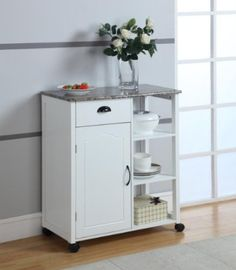 $119.99 (CLICK IMAGE TWICE FOR UPDATED PRICING AND INFO)  White Finish Wood & Marble Vinyl Top Kitchen Storage Cabinet Cart.See More Kitchen Storage Cabinets at http://www.zbuys.com/level.php?node=3938=kitchen-storage-cabinets