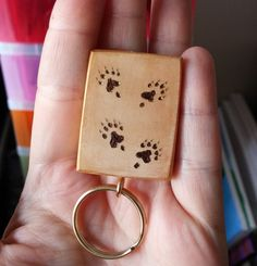 Ferret memorial pyrography keyring wooden by fuzzbumdesigns