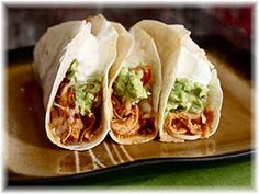 This is such an easy way to make the chicken and it's wonderful!  We have these all of the time.  I just put chicken and salsa in crockpot - taco seasoning isn't really needed!