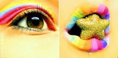 rainbow eye & lip makeup