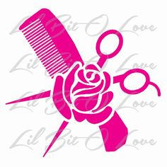 Hair Stylist Comb Scissors and Rose Vinyl Decal Cosmetology Sticker | LilBitOLove - Housewares on ArtFire