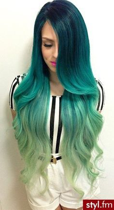 Ombre teal to pale green hair