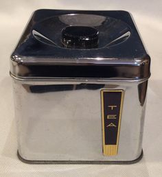 Vintage Mid Century BeautyWare Chrome Tea Canister by Lincoln Chrome Retro