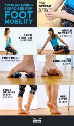 7 Pain-Releasing Exercises for Your Achy Feet - *Yoga & Workout* - Desserts Foot Exercises, Ankle Stretches, Ankle Mobility Exercises, Ankle Strengthening Exercises, Easy Stretches, Yoga Fitness, Health Fitness, Planet Fitness, Fitness Pal