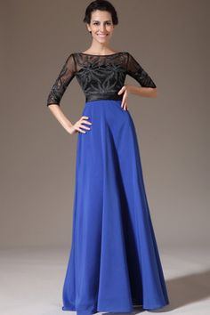 scoop neckline 2014 a-line flowing two tone prom dress