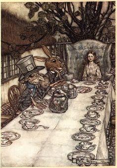 l' illustrateur britannique Sir Arthur Rackam qui immortalisa en 1907 , Alice et son petit monde merveilleux