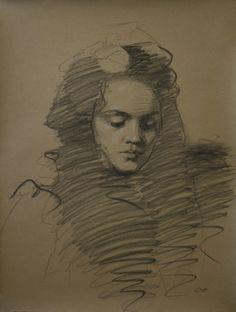"Teresa Oaxaca, American: Sfumato, 2014. Charcoal with white chalk on Hahnemuhle paper, 19""x26""."