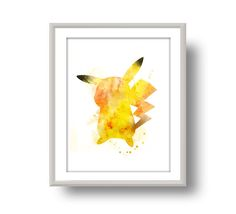 pikachu watercolor printable painting Funny Pokémon Poster print 8x10 inches wall art, nerdy poster