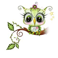 Baby owl green sweet