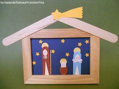Nativity scene from wood popsicle sticks Nativity Ornaments, Nativity Crafts, Christmas Nativity, Christmas Art, Simple Christmas, Christmas Ornaments, Nativity Scenes, Christmas Crafts For Kids, Craft Stick Crafts