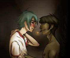 Gorillaz:Awww come one 2d just one kiss~murdoc