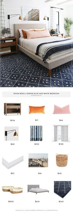 Get The Look The Blue and White Bedroom Of Your Dreams is part of Room White bedroom - Recreate this beautiful bedroom on a budget! Check out the items used get the look of this pretty blue and white room You can have this bedroom too! Blue Bedroom, Trendy Bedroom, Cozy Bedroom, Bedroom Colors, Bedroom Decor, Bedroom Ideas, Bedroom Bed, Bedroom Inspiration, Bed Room