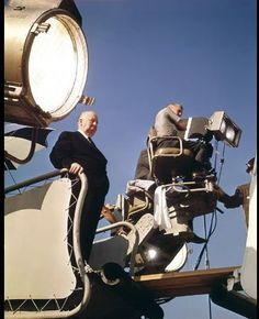 hitchcock alfred hitchcock during filming of torn curtain 1966