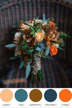 Blue peach teal and orange wedding bouquet for fall wedding // rustic, autumn, bride, bridesmaids wedding diys / boquette wedding fall / autumn wedding ideas / wedding fall colors september / wedding colors fall october Teal Wedding Bouquet, Fall Wedding Flowers, Fall Wedding Colors, Floral Wedding, Blue Bouquet, Wedding Rustic, Blue Wedding, October Wedding Colors, Wedding Boquette