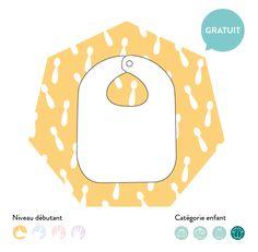 Patron de couture gratuit, patron facile à réaliser- free sewing pattern - Patron Bavoir à pression- patron PDF à télécharger, niveau de couture débutant