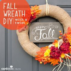 Fall Wreath DIY (with a Twist!) going to do a burlap base and change out the additions for all seasons