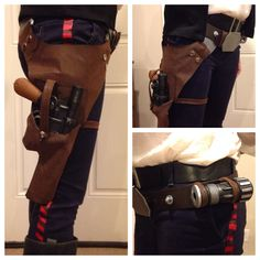 Han Solo Blaster Holster Faux leather fabric Rivets and snaps Clay sculpted buckles Machine sewn Droid Caller painted PVC