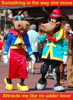 Clarabelle Cow & Horace Horsecollar in Frontierland and the Magic Kingdom (Disney World).  Get great Disney vacation planning information at http://www.buildabettermousetrip.com/disney-freebies/