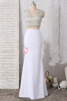c94a44be842 Sparkly Crystals V-neck Cap Sleeve with White Jersey Two-piece Mermaid Prom  Dress