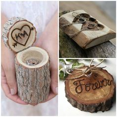Coussins d'alliance en bois, Pinterest Wedding Preparation, Dream Wedding, Wedding Dreams, Place Card Holders, Support, Amy, Rings, Wedding, Princess Party