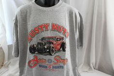 rusty nuts  gray funny t-shirt graphic tee classic cars automobile old novelty #JERZEESGildanFOLweonlyusenamebrandfirsts #ShortSleeve