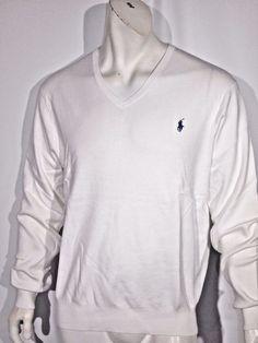 Polo Ralph Lauren men's pima v-neck sweater size large NWT color white #PoloRalphLauren #VNeck