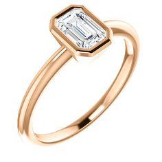 Emerald Cut Diamond Bezel Engagement Ring by NuudRoseGold on Etsy