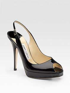 jimmy choo, clue patent leather slingbacks